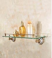 Полочка подвесная в ванную стекло бронза 0560