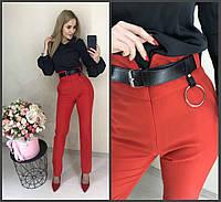 Красные брюки с высокой талией
