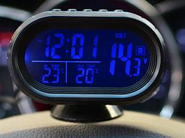 Автомобільний вольтметр з датчиком температури 12-24 в