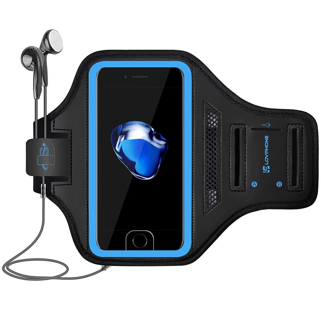 Спортивный чехол LOVPHONE для iPhone 7/8 Plus влагостойкий  светоотражающий голубой
