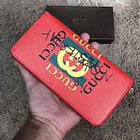 Gucci Print leather Future Zip Around Wallet Red, фото 1