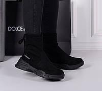 Ботинки спорт подошва сзади затяжка черные, фото 1