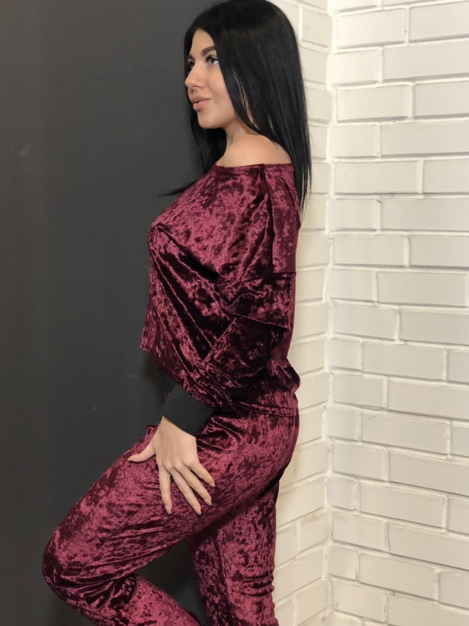 Стильный велюровый костюм 065-бордо, одежда для дома.