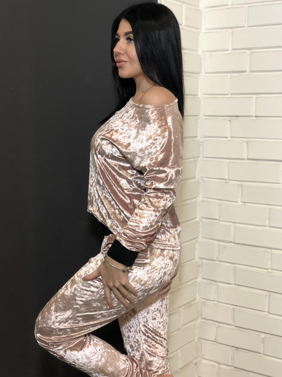 Теплые женские пижамы, молодежный бархатный костюм штаны и свит-шот 065-пудра.