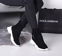 Ботинки спортивные сзади затяжка черные на белой подошве, фото 1