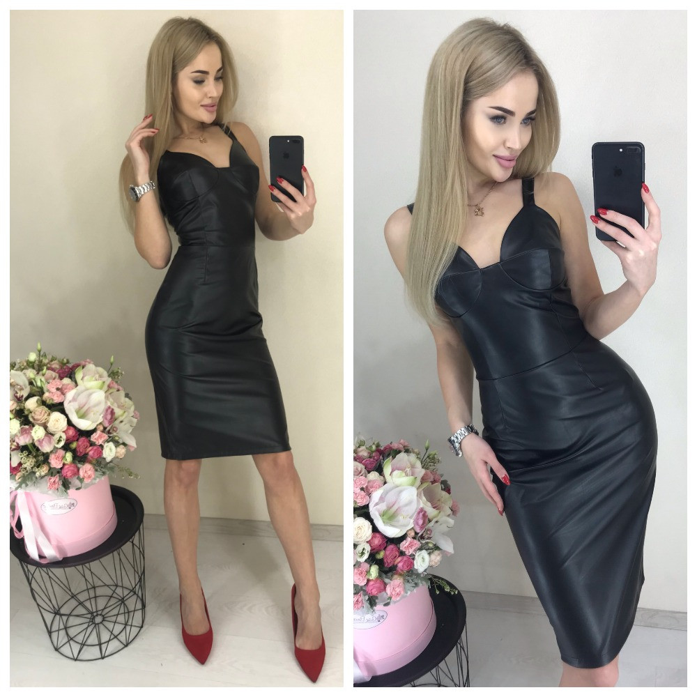 Кожаное платье футляр