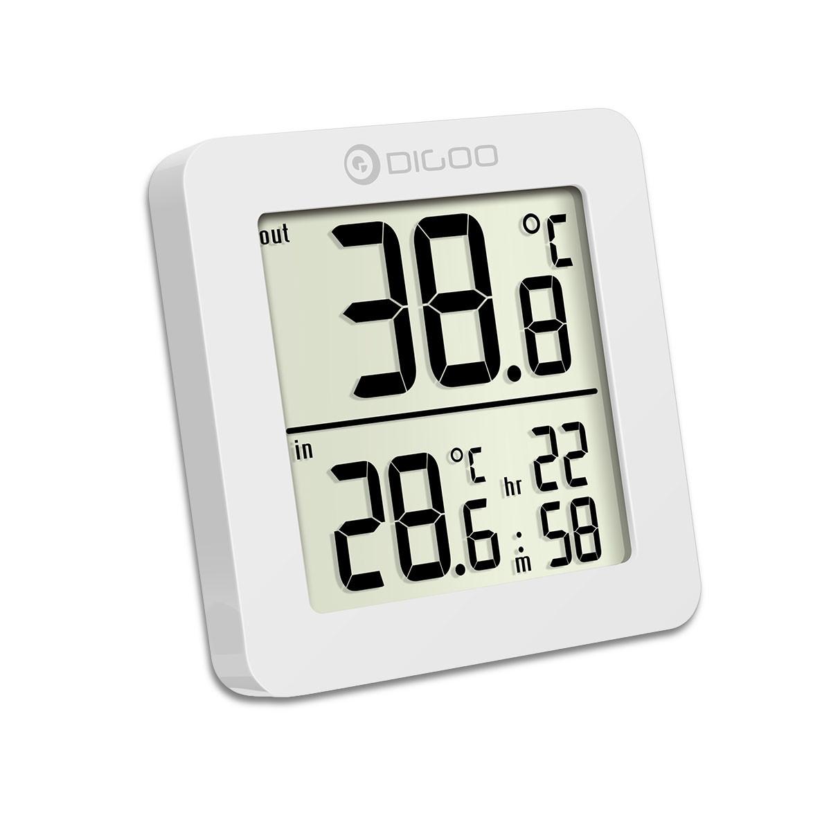 DIGOO DG-TH01 Mini годинник - термометр із зовнішнім провідним датчиком. Білий колір