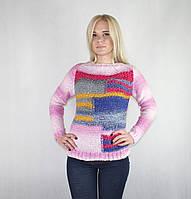 Турецкий женский теплый свитер розового цвета
