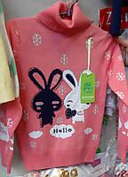 Теплая кофточка свитер для девочки с зайчиками