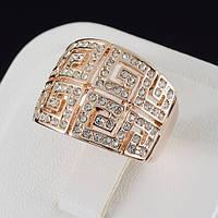 Художественное кольцо с кристаллами Swarovski, покрытие золото 0519