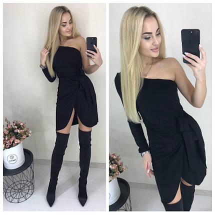 Короткое черное платье с длинным рукавом, фото 2