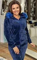 Велюровый синий спортивный костюм женский 48-54 размеров