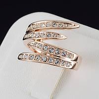 Хорошенькое кольцо с кристаллами Swarovski, покрытие золото 0520