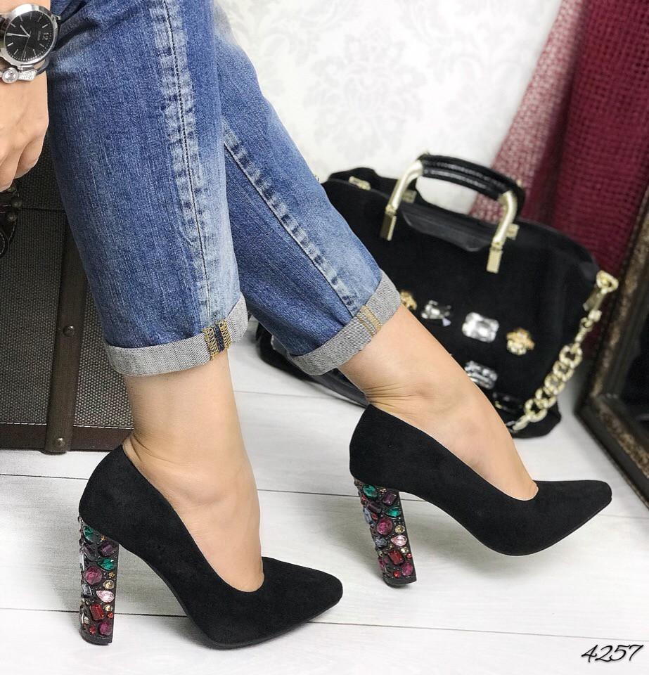 Туфли черные каблук россыпь камней