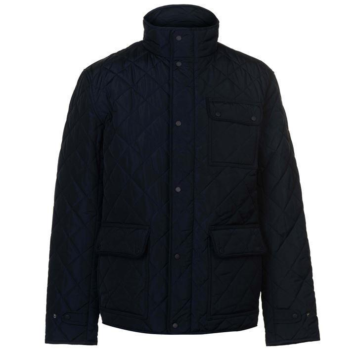 Мужская классическая стеганая куртка Firetrap Kingdom Jacket синяя оригинал
