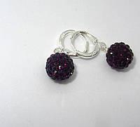 Серебряные серьги, Зеркальный шар черные, с красным, стерлинговое серебро, 925 проба, фото 1