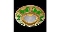 Латунный потолочный встраиваемый светильник SMALTO ITALIANO ROUND, изумрудно-зеленый