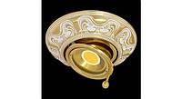 Латунный потолочный встраиваемый светильник SIENA ROUND, светлое золото - белая патина