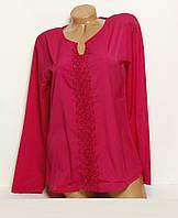 Блуза с длинным рукавом на все сезоны, однотонная из креп-шифона, высокое качество,  р. 46-48 код 3297М