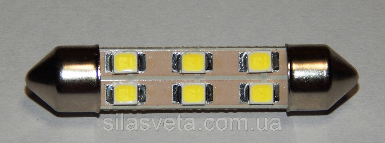 "Светодиодная лампа салона 41мм 12V 6SMD ""Cristal Light"""