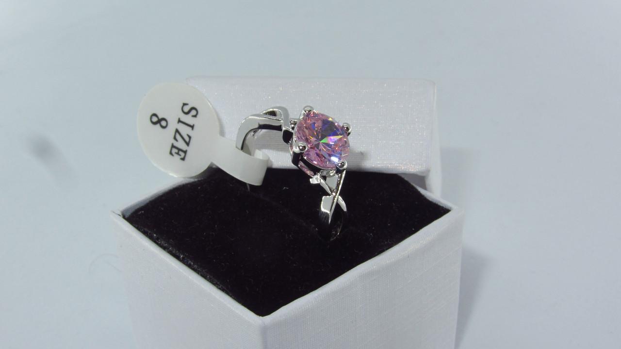 Серебряное кольцо, Кристалл, с камнем розовый куб. цирконий, размер 18