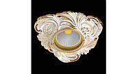 Латунный потолочный встраиваемый светильник CRYSTAL DE LUXE, светлое золото - белая патина