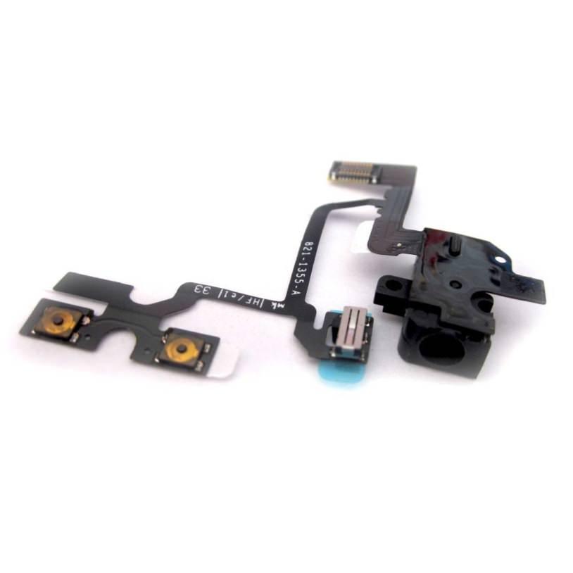 Шлейф (Flat, Flex cable) Apple iPhone 4 с коннектором наушников и кнопками регулировки звука, чёрный