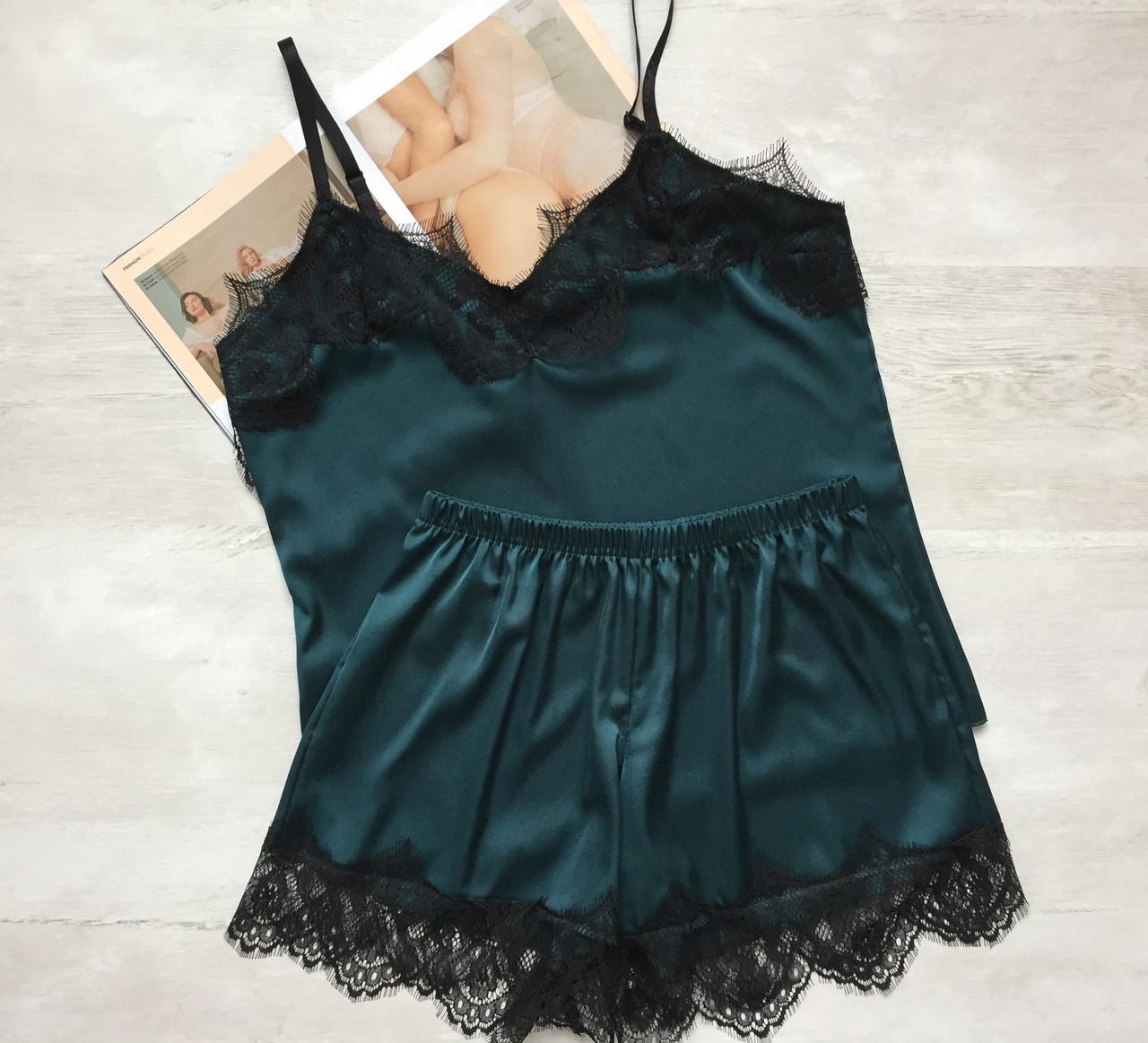 Женская шелковая пижама майка и шорты зеленая 03