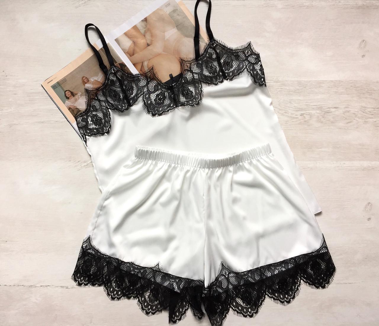 Женская шелковая пижама майка и шорты белая 03