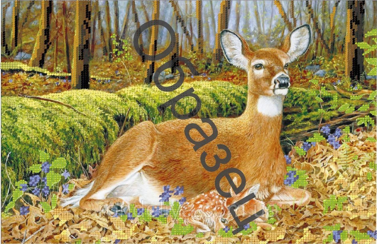 Схема для вишивки бісером «Олениця з оленятком»