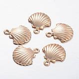 Металлическая подвеска ракушка 19х16мм золото для рукоделия, фото 2