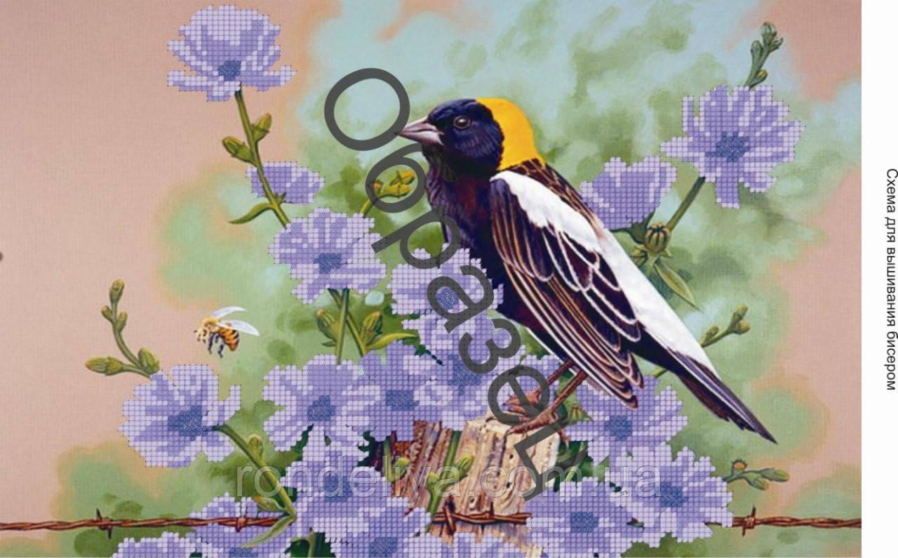 Схема для вышивки бисером «Птичка в цветах»