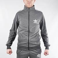 Мужская фирменная кофта на замке Adidas (темно-серая) - Код 34-45