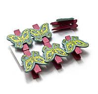 """Украшалочки """"бабочки"""" прищепка дерево(н-р 6 шт) цена за набор"""