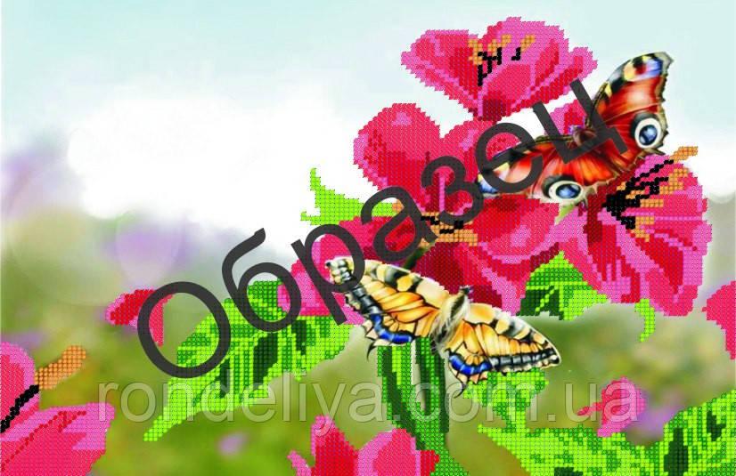 Схема для вишивки бісером «Метелики в квітах»