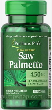 Для повышения тестостерона Puritan's Pride Saw Palmetto 450 mg 100 капс., фото 2