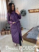Женское стеганное зимнее пальто под пояс в расцветках 5PA46