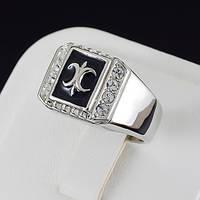 Неотразимое мужское кольцо с кристаллами Swarovski, покрытое золотом 0522