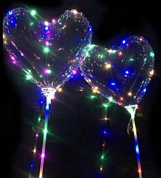 Светодиодный шар бобо bobo Сердце. Воздушный светящийся на палочке с гирляндой в комплекте