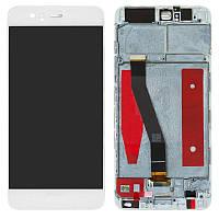 Дисплейный модуль (экран и сенсор) для Huawei P10 VTR-L29, VTR-L09, с рамкой, белый, оригинал