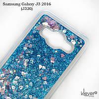 TPU чехол аквариум Aquarium stars для Samsung Galaxy J3 2016 (j320) (сердечки и синие блестки)