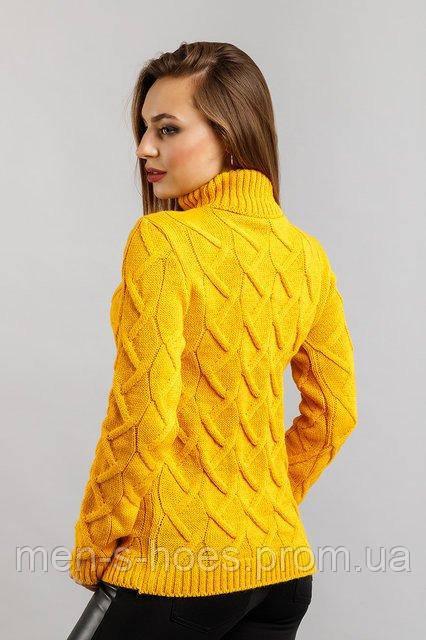 свитер женский вязаный желтый с горловиной продажа цена в