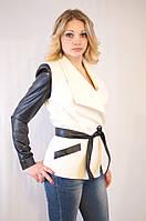 Курточка-пиджак из драпа с рукавами из эко кожи в 5ти цветах