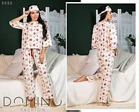 0f6c9f172c19 Женская байковая пижама с принтом и повязкой для сна в комплекте