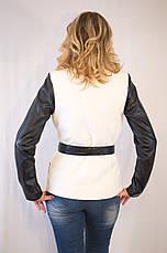 Курточка-пиджак из драпа с рукавами из эко кожи в 5ти цветах, фото 2