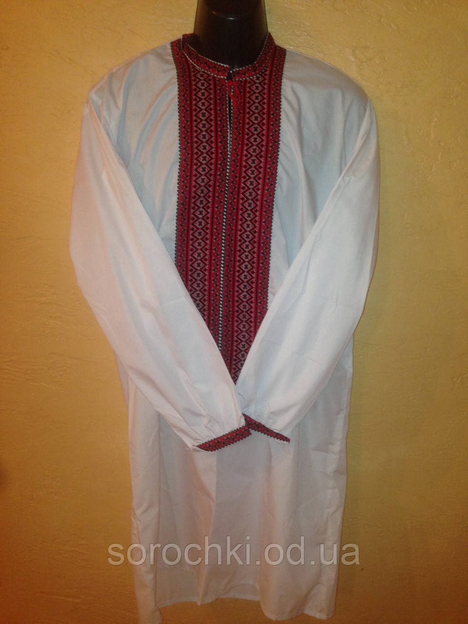 Вышиванка рубаха , мужская , поплин , вышивка красная купальная