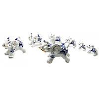 Статуэтки Слоны набор 7шт фарфор от 12х9х7см до 4,5х3х3см (32437)