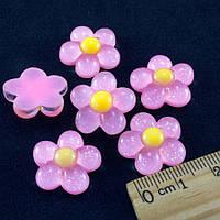"""(10шт) Серединки, кабошоны """"Цветочек"""" d=18мм Цена указана за 10шт Цвет - розовый нежный"""