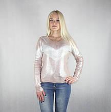 Женская блестящая демисезонная кофта нежно розового цвета