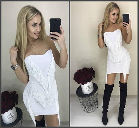 Короткое белое платье с бахромой, фото 2